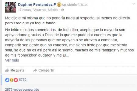 Daphne responde a sus detractores por Facebook
