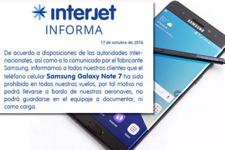 Interjet y Aeroméxico prohiben el 'Galaxy Note 7' en sus vuelos