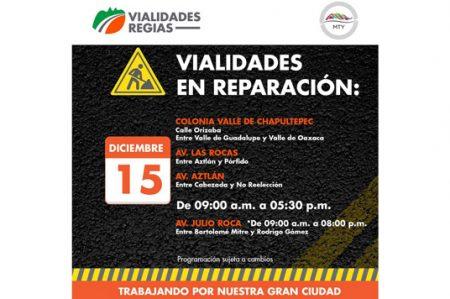 Tránsito lento por reparaciones en Monterrey