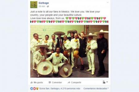 Garbage presume su amor por México