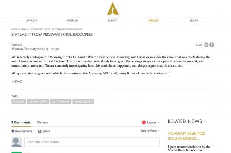 Se disculpan en boletín por error en los Oscares