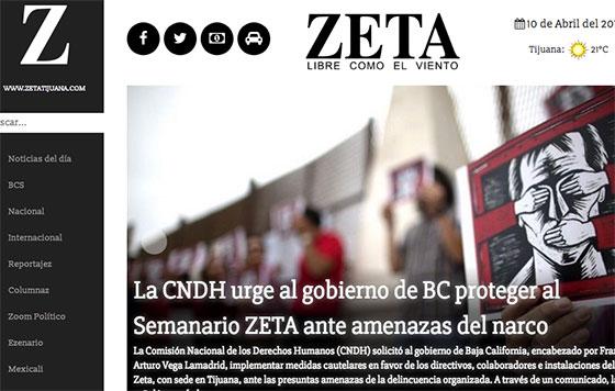 CNDH pide protección para el Semanario Zeta de Tijuana