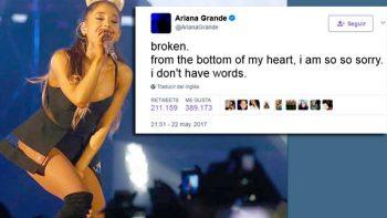 Lo siento, no tengo palabras: Ariana Grande tras ataque
