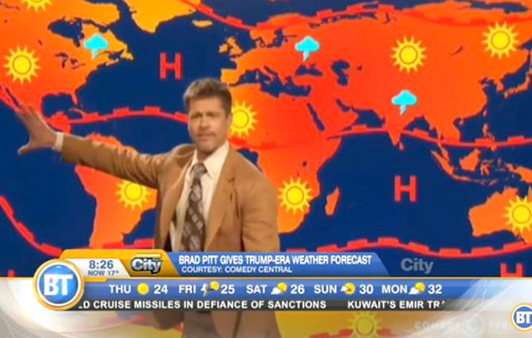 Brad Pitt debuta como meteorólogo en televisión