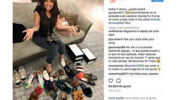 Thalía es adicta a la compra de zapatos