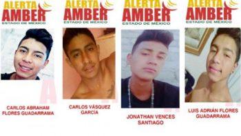 Emiten alertas Amber por desaparición de 4 jóvenes en Edomex