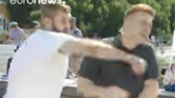 Golpean durante transmisión en vivo a periodista ruso