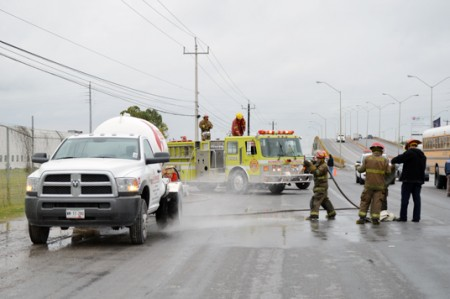 Alarma fuga de gas en carretera Reynosa-Matamoros