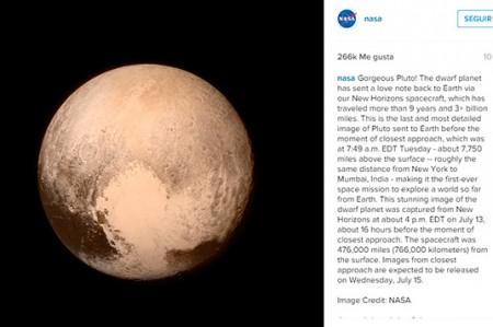 Primera imagen de Plutón, directo a Instagram