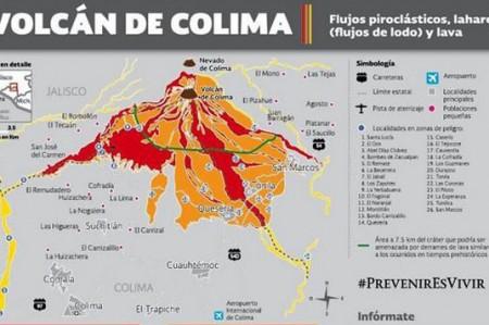 Sigue alerta por posibles avalanchas cerca del Volcán de Colima