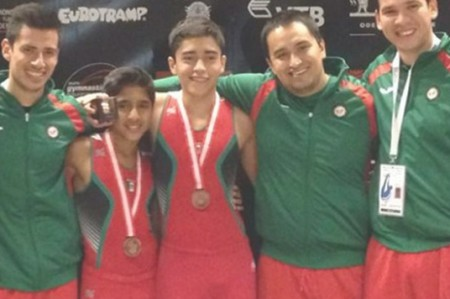 Gimnastas mexicanos con bronce en Mundial de Trampolín
