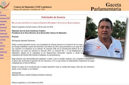 Pide licencia Gustavo Cárdenas a la diputación federal