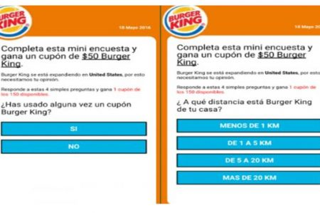 Estafan por WhatsApp con falso cupón de Burger King