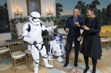Los Obama bailan con personajes de 'Star Wars'