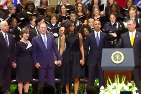 Bush baila en homenaje solemne a policías caídos en Dallas