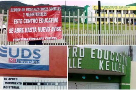 CNTE toma escuelas privadas en Chiapas