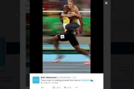 Ellen DeGeneres genera polémica por foto con Usain Bolt