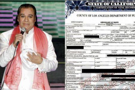 Publican certificado de defunción de Juan Gabriel