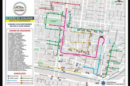 Anuncian cierres viales para la celebración del Grito y Desfile de Independencia