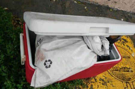 Abandonan hielera con restos humanos en Tlalnepantla