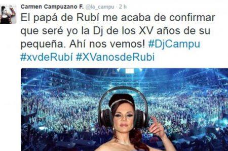Carmen Campuzano será DJ en los XV de Rubí