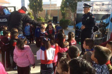 Policía Federal realiza programa Conoce a tu Policía en jardín de niños en Durango