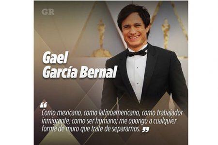 Gael García Bernal alza la voz contra el muro en los Oscar