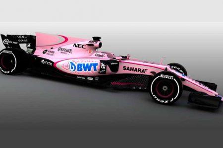 Sergio Pérez y Force India sorprenden con su automóvil rosa