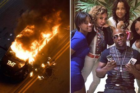 Incendian automóvil de Floyd Mayweather Jr.