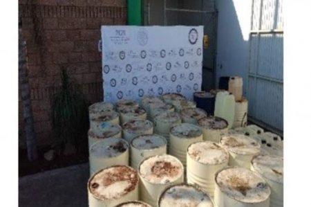 Aseguran 25 mil litros de químicos para drogas sintéticas en Sinaloa