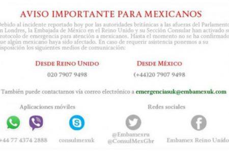 Embajada de México en Londres activa protocolo de emergencia