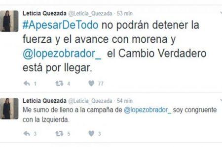 Leticia Quezada se suma a campaña de López Obrador