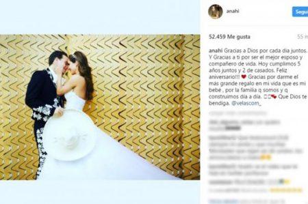 Anahí celebra dos años de casada