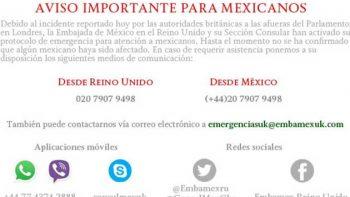 Embajada de México en Reino Unido activa protocolo de emergencia