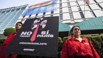 Protestan activistas por salida de EU del Acuerdo de París