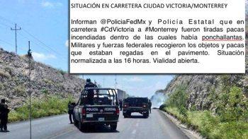Tiran pacas incendiadas en carretera Victoria-Monterrey