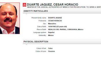 Interpol actualiza ficha roja sobre exgobernador de Chihuahua