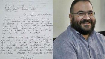Javier Duarte escribe tercera carta desde reclusorio