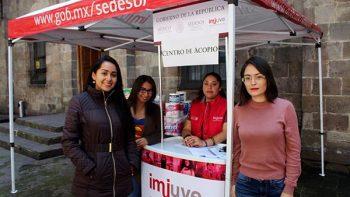 Coadyuva Imjuve a atender necesidades de los damnificados tras sismo