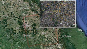 Mapa satelital ubica zonas dañadas por sismo