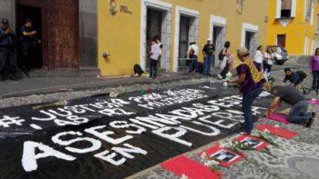 Protestan por asesinato de Mara; piden alerta de género en Puebla
