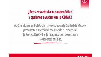ADO ofrece viajes a la CDMX para rescatistas y paramédicos