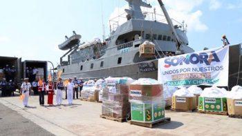 Zarpa buque 'Zapoteco' con ayuda para afectados por sismo