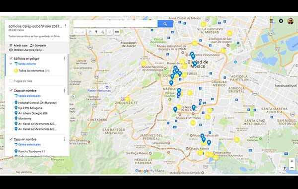 detalla google maps edificios daados tras terremoto en la cdmx