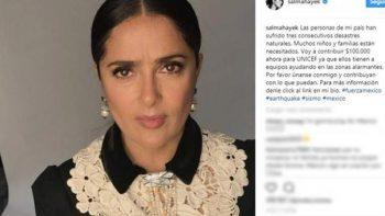 Salma Hayek dona cien mil dólares para ayudar a México