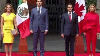Recibe Peña Nieto a Justin Trudeau en Palacio Nacional