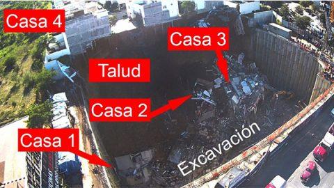 Así se ve desde el aire el derrumbe del fraccionamiento La Antigua en Monterrey