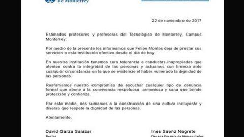Despide ITESM a Felipe Montes, acusado de conducta inapropiada