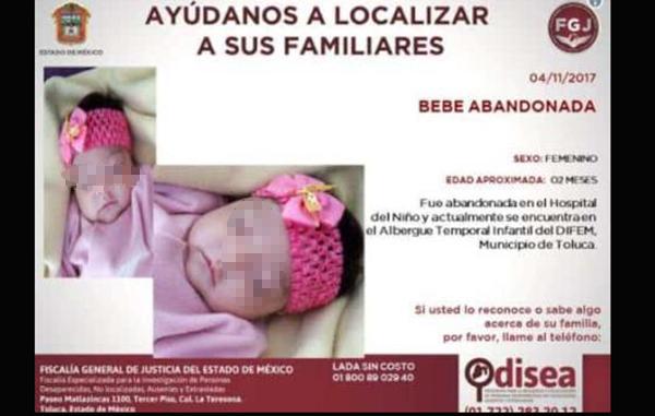 Abandonan a bebé en hospital de Edomex