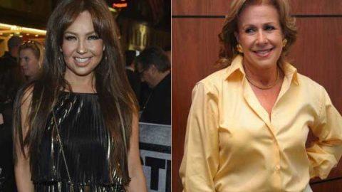 Thalía y Laura Zapata se reúnen para celebrar a su abuela